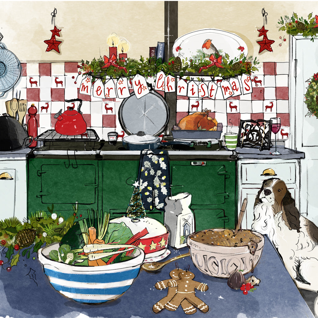 Illustrated Christmas cards with a green aga range cooker and a spaniel dog