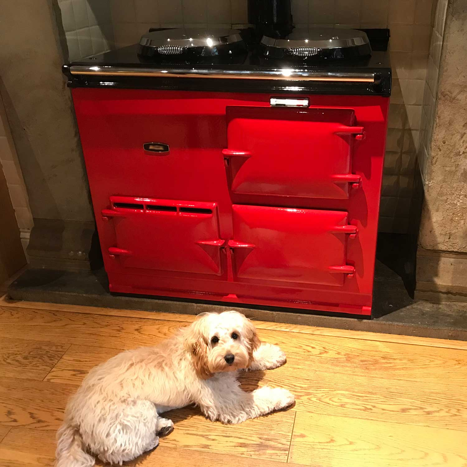 Red Aga re-enamelled