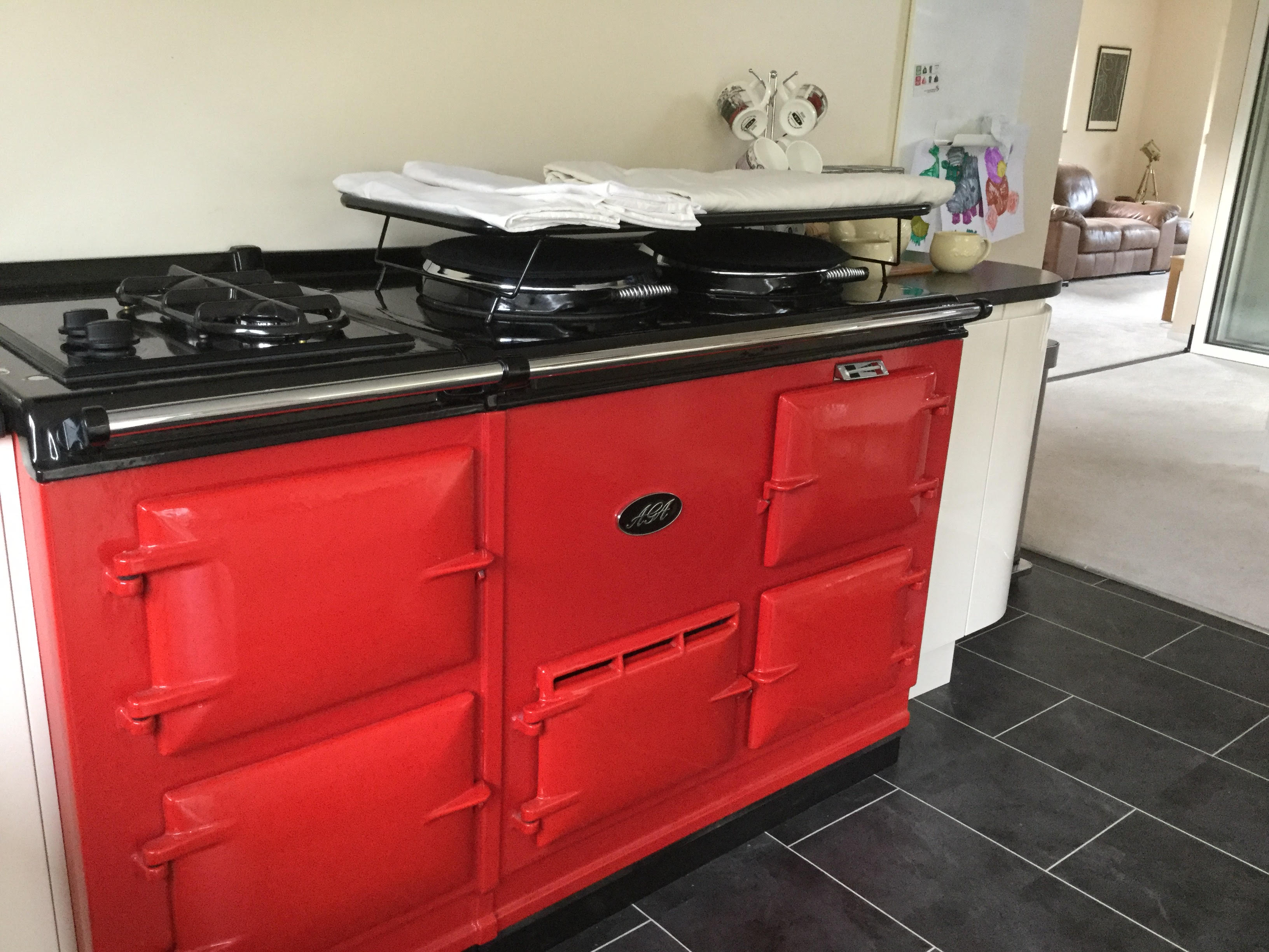 Red Aga with drying airer