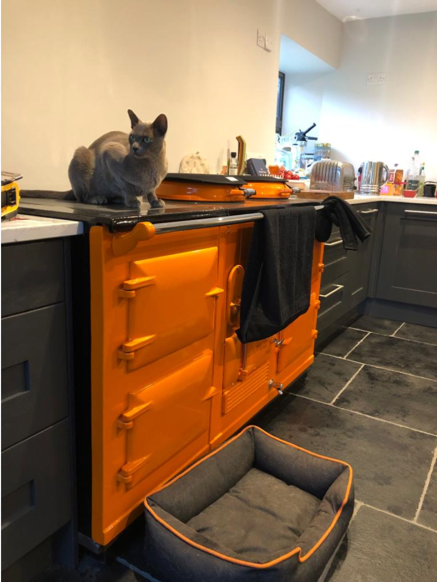 Orange reconditioned Aga range cooker