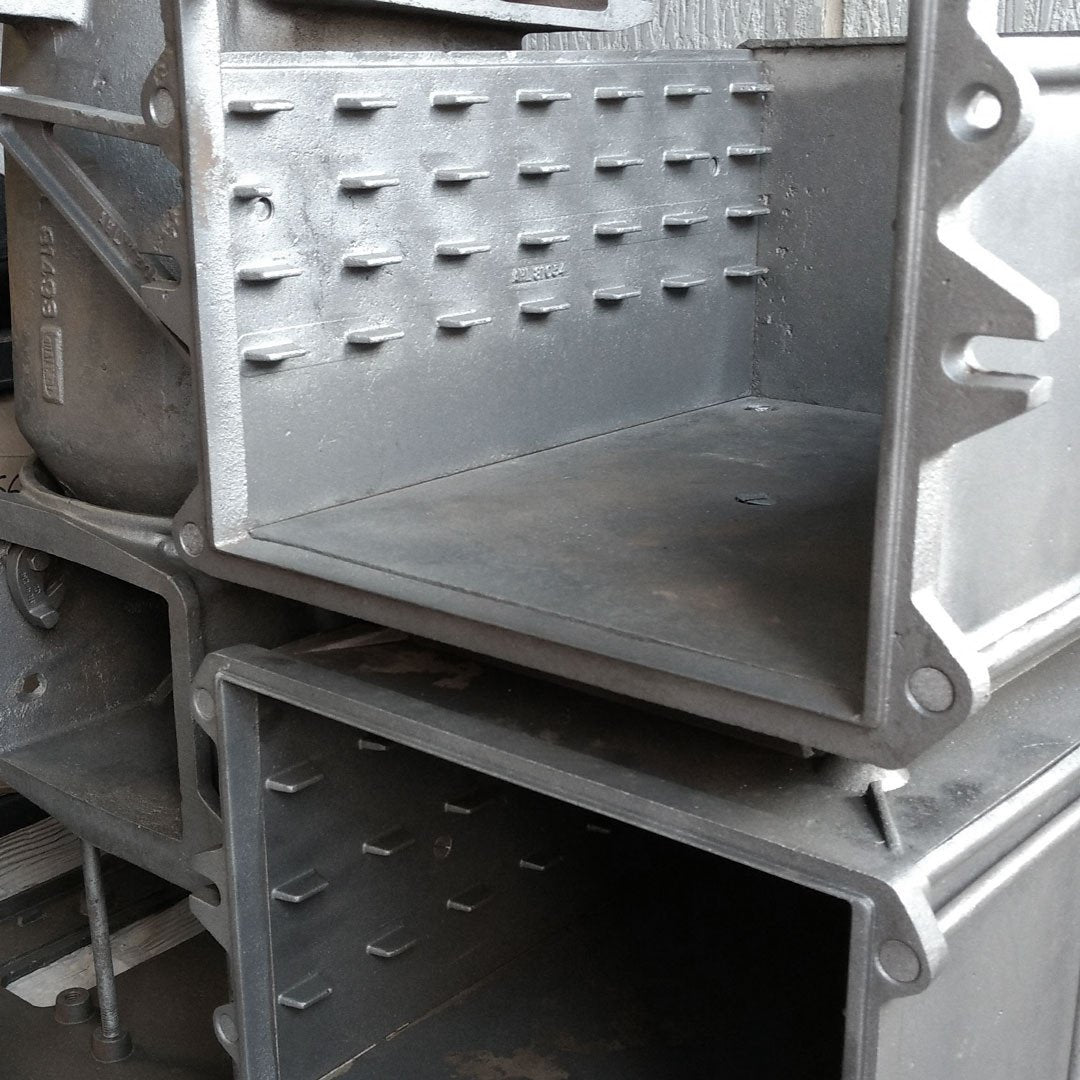 Shotblasted Aga range cooker prior to conversion to electric