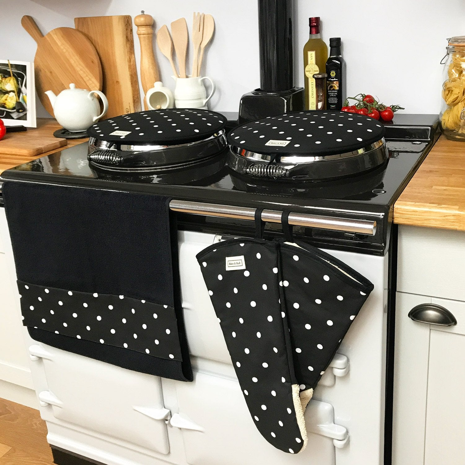 Dotty black hob covers for use with Aga range cookers