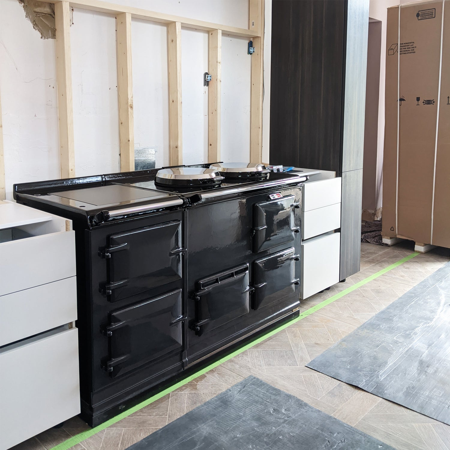 Myers Touch kitchen installation and a reconditioned range cooker in light pewter by Blake & Bull .jpg