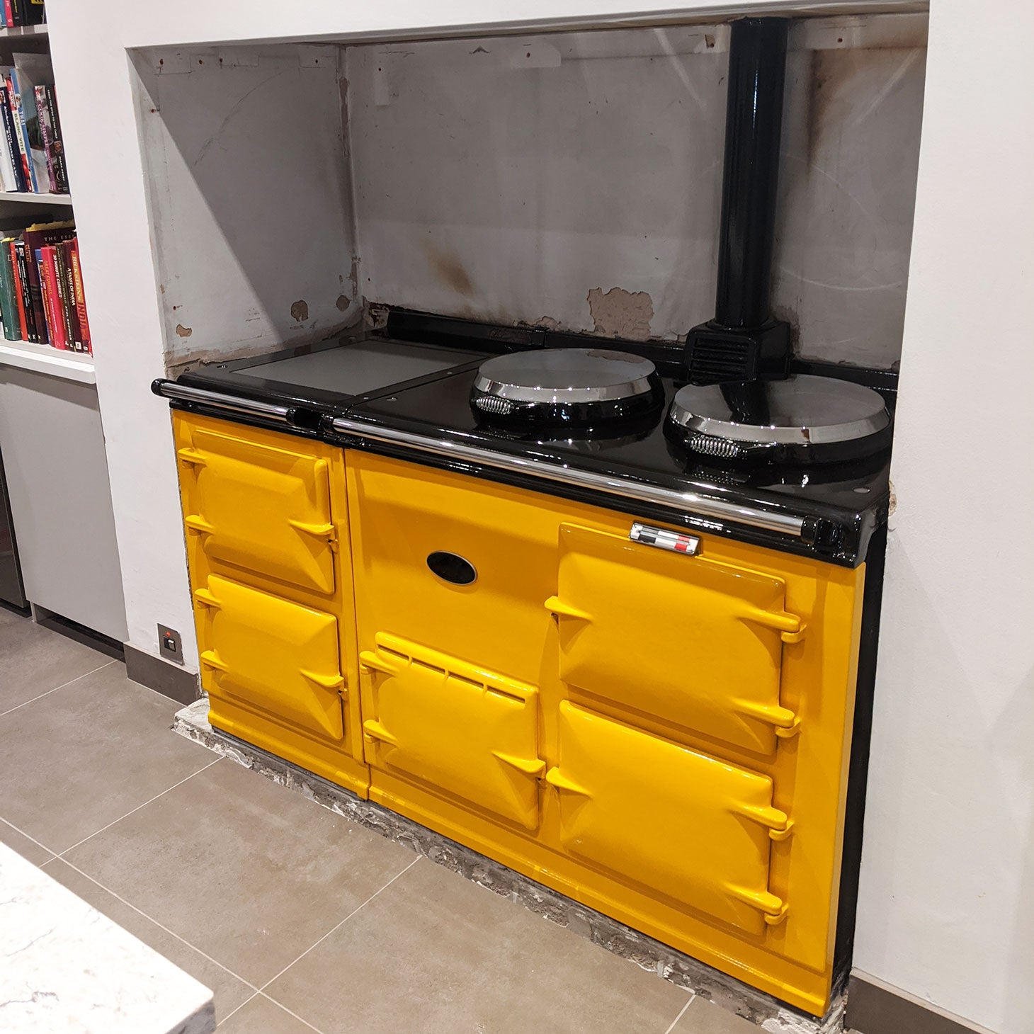 Yellow Aga range cooker