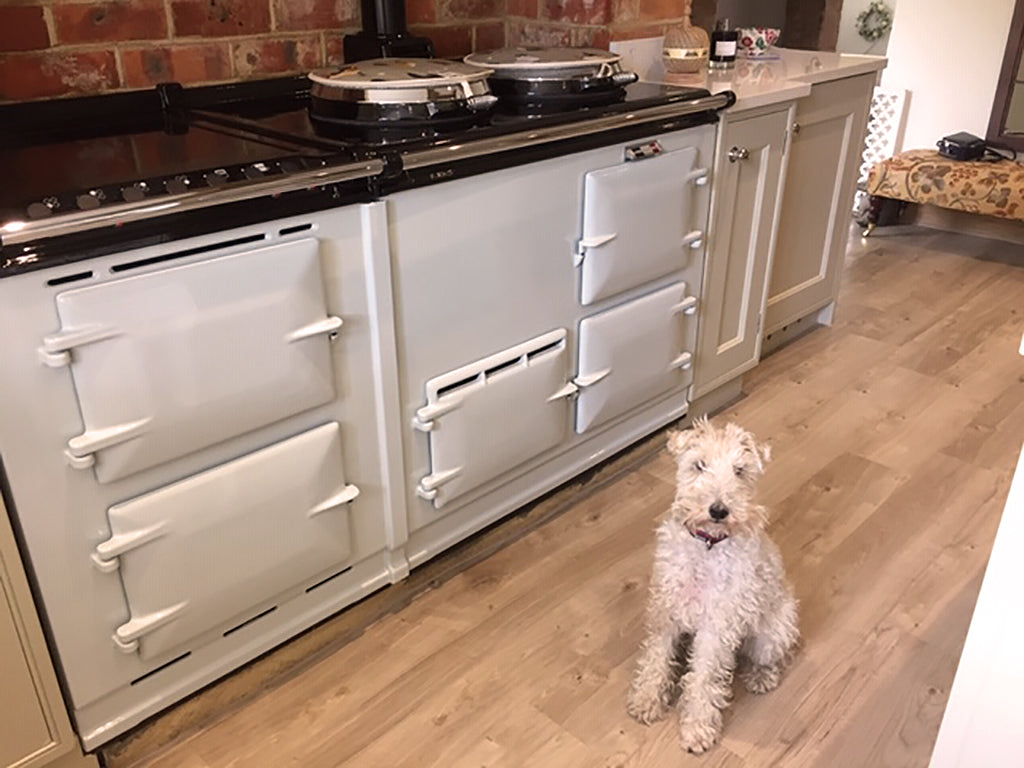 A re-enamelled aga range cooker