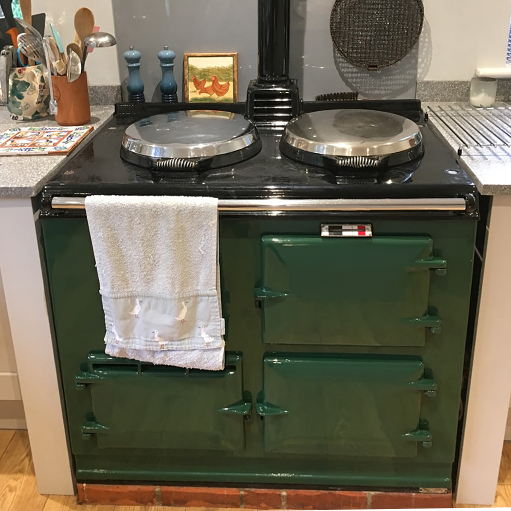 How to clean the enamel on an Aga range cooker - before and after