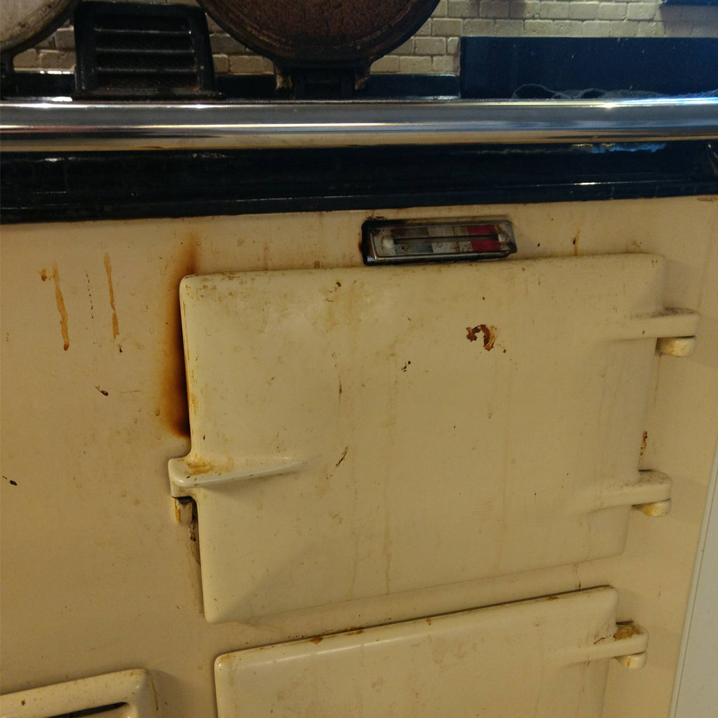 Stains on an Aga range cooker door due to steam releasing through seal