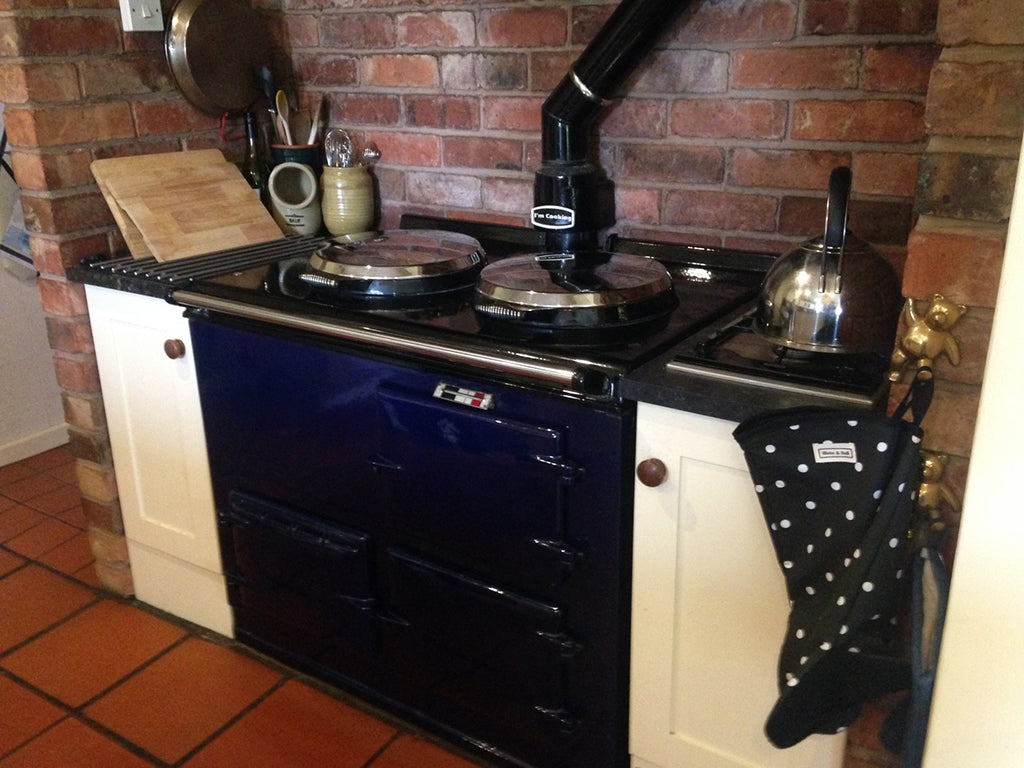 polka dot textiles suitable for use with Aga range cooker hob covers lid covers with loops chefs pads with loops