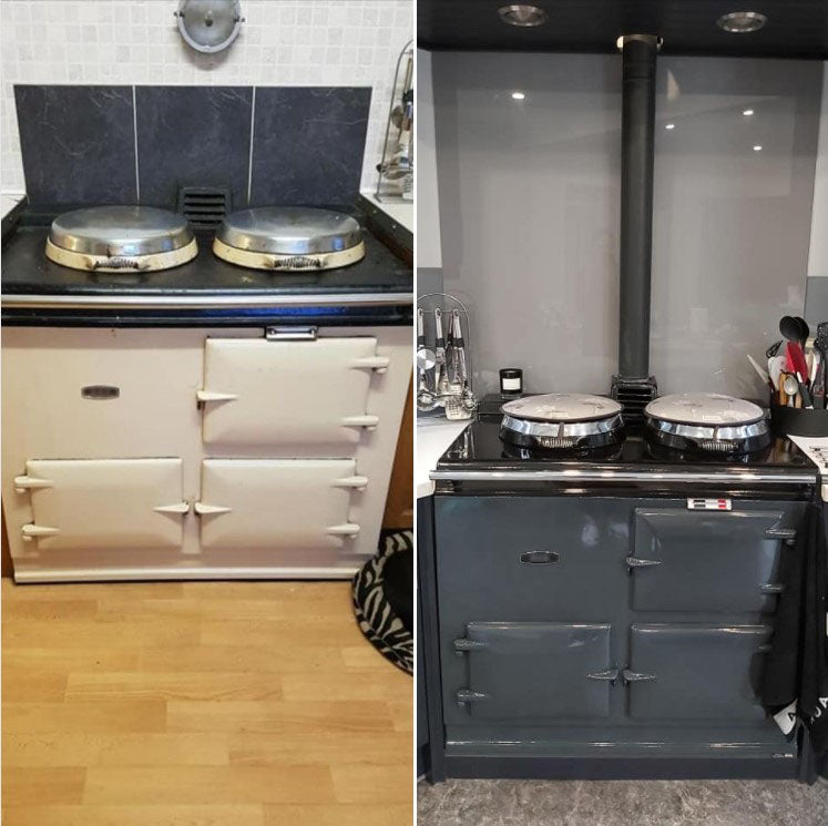 Aga range cooke re-enamelled before and after
