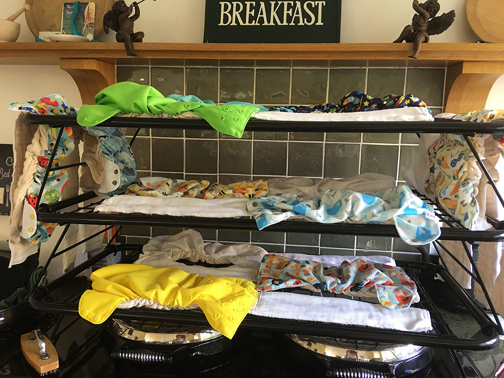 Drying laundry and reusable cloth nappies on an Aga range cooker  - Blake and bull kitchenware textiles cookware baking trays suitable for use with aga and rayburn range cookers - reconditioned aga range cookers re-enamelling services and electric conversion services for Aga range cookers