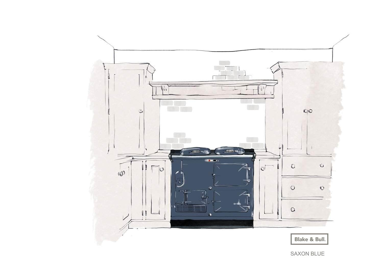 Reconditioned Aga range cooker 'Standard' model 2 oven | 'eCook' by Blake & Bull | £7873 Saxon Blue / Pay in full and save £300. Use code 'SAVE300S' at checkout