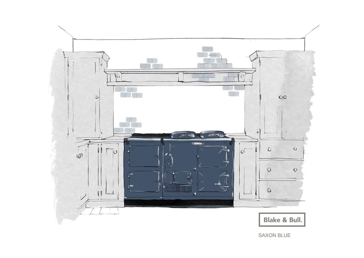 Reconditioned Aga range cooker 'Standard' model 4 oven | 'eCook' by Blake & Bull | £9422 Saxon Blue / Pay in full and save £350. Use code 'SAVE350S' at checkout