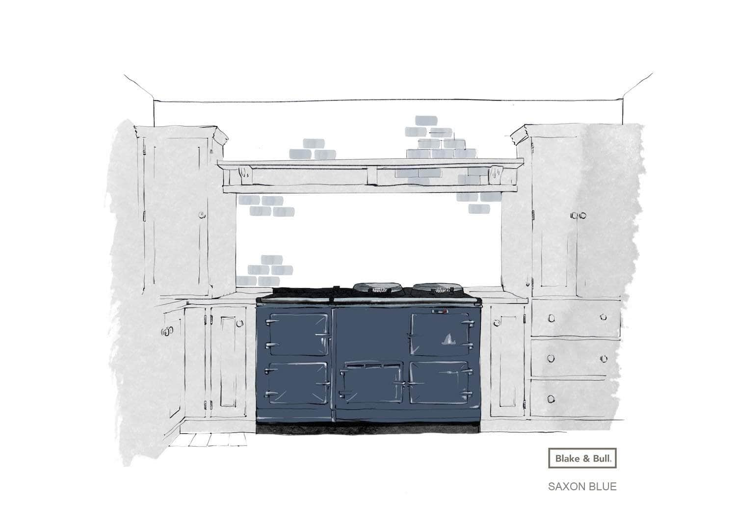 Reconditioned Aga range cooker 'Deluxe' (post-1974) 4 oven | 'eCook' by Blake & Bull | £9422 Saxon Blue / Pay in full and save £350. Use code 'SAVE350' at checkout