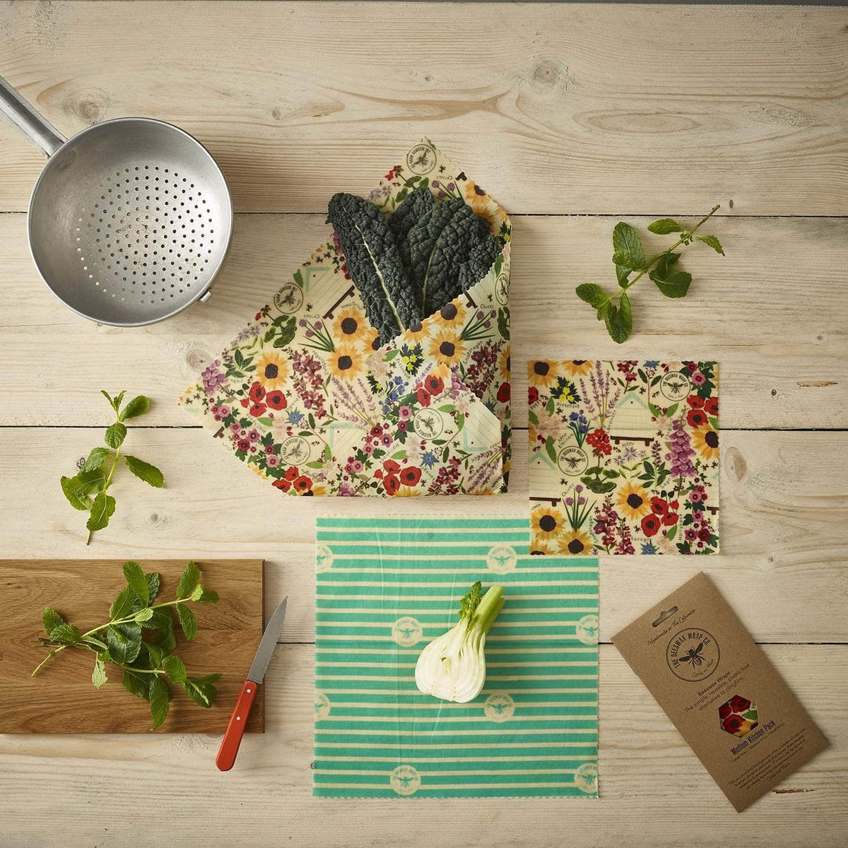 *New* Beeswax wraps - medium kitchen pack Floral