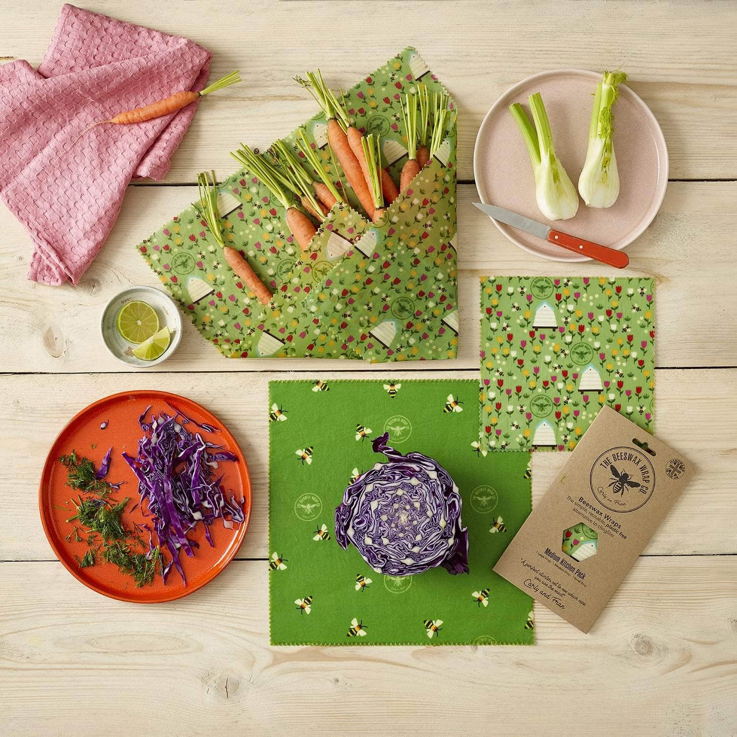*New* Beeswax wraps - medium kitchen pack Land