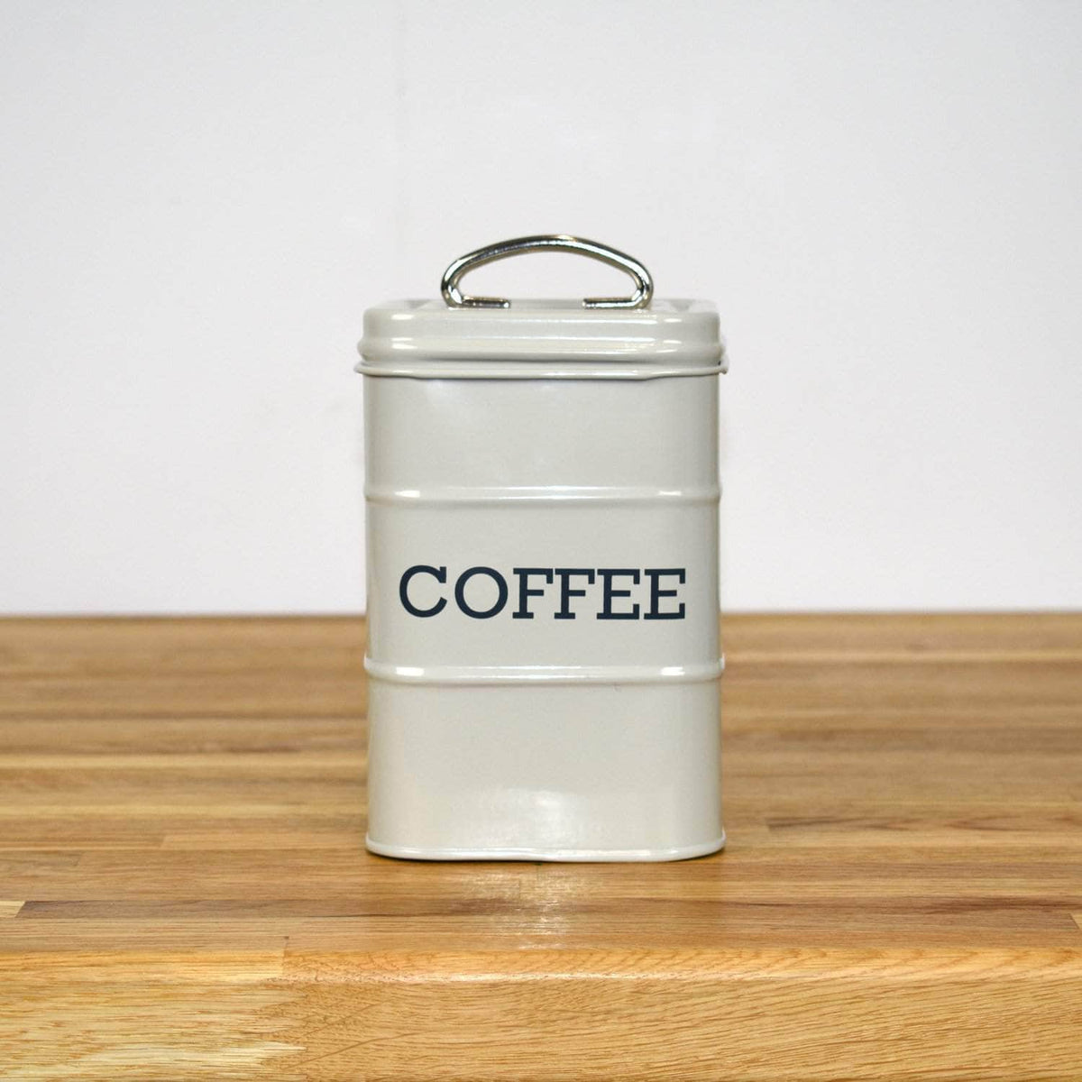 Steel coffee canister in French grey