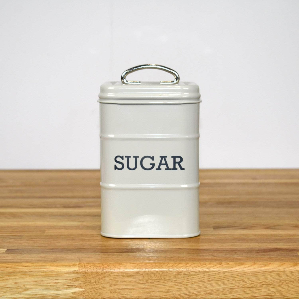 Steel sugar canister in French grey