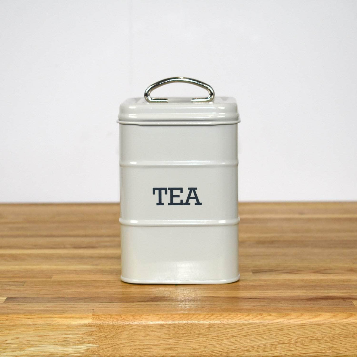 Steel tea canister in French grey