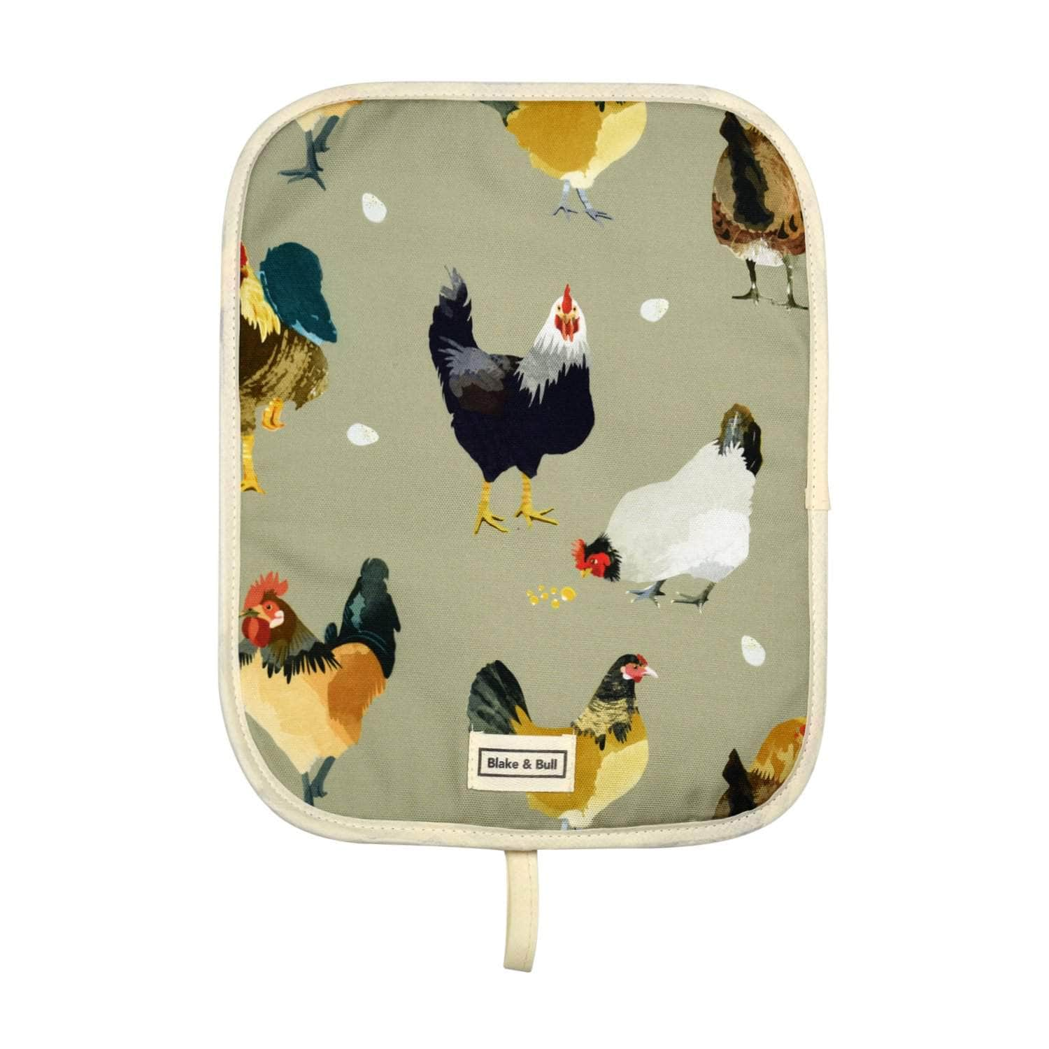 Chefs pad with loop for use with Rayburn '400' series range cooker - 'The Chickens'