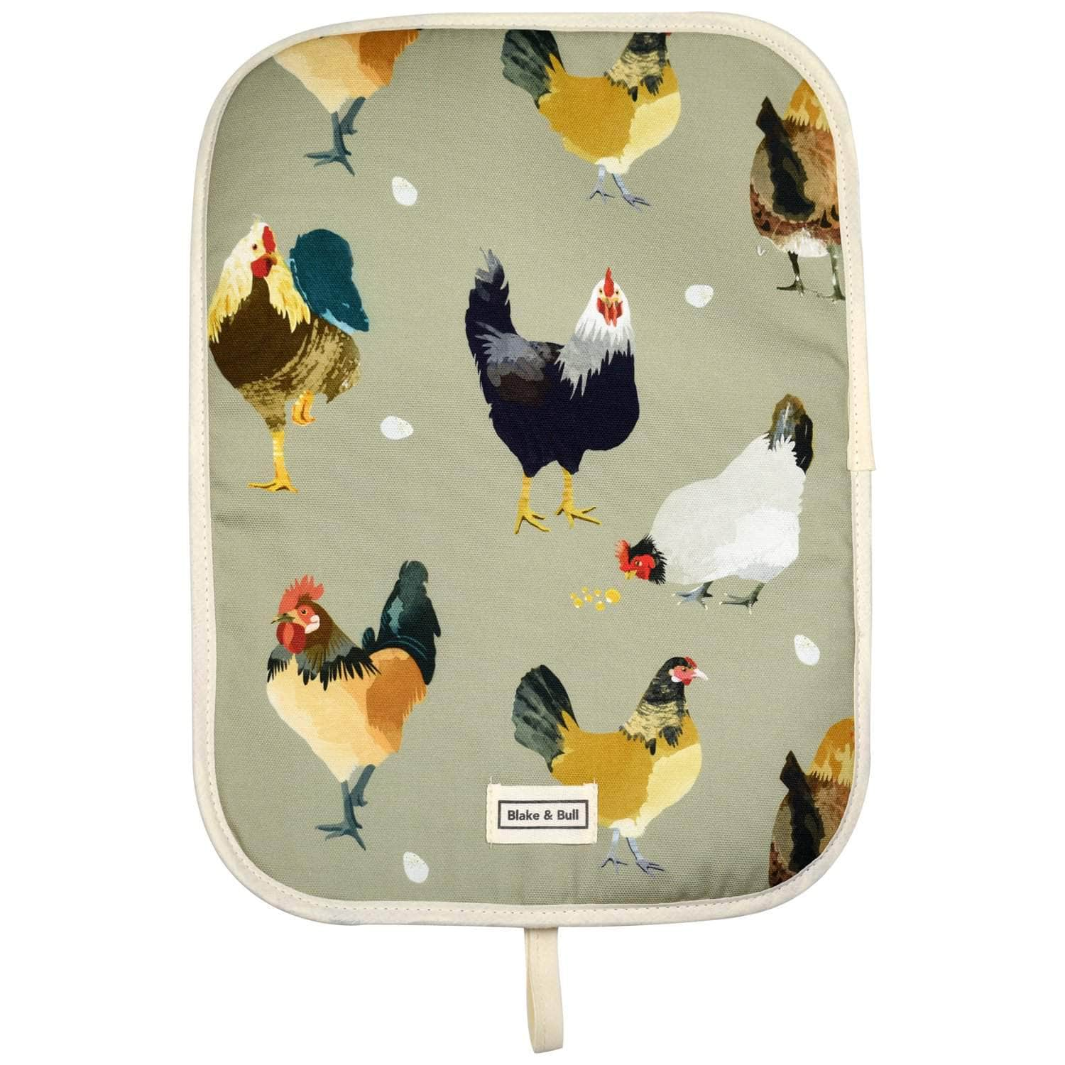 Chefs pad with loop for use with Rayburn '600' series range cooker - 'The Chickens'