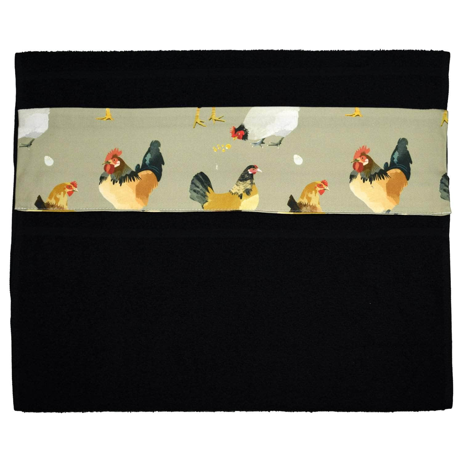 Wide (51 cm) hanging towel with velcro attachment - 'The Chickens'