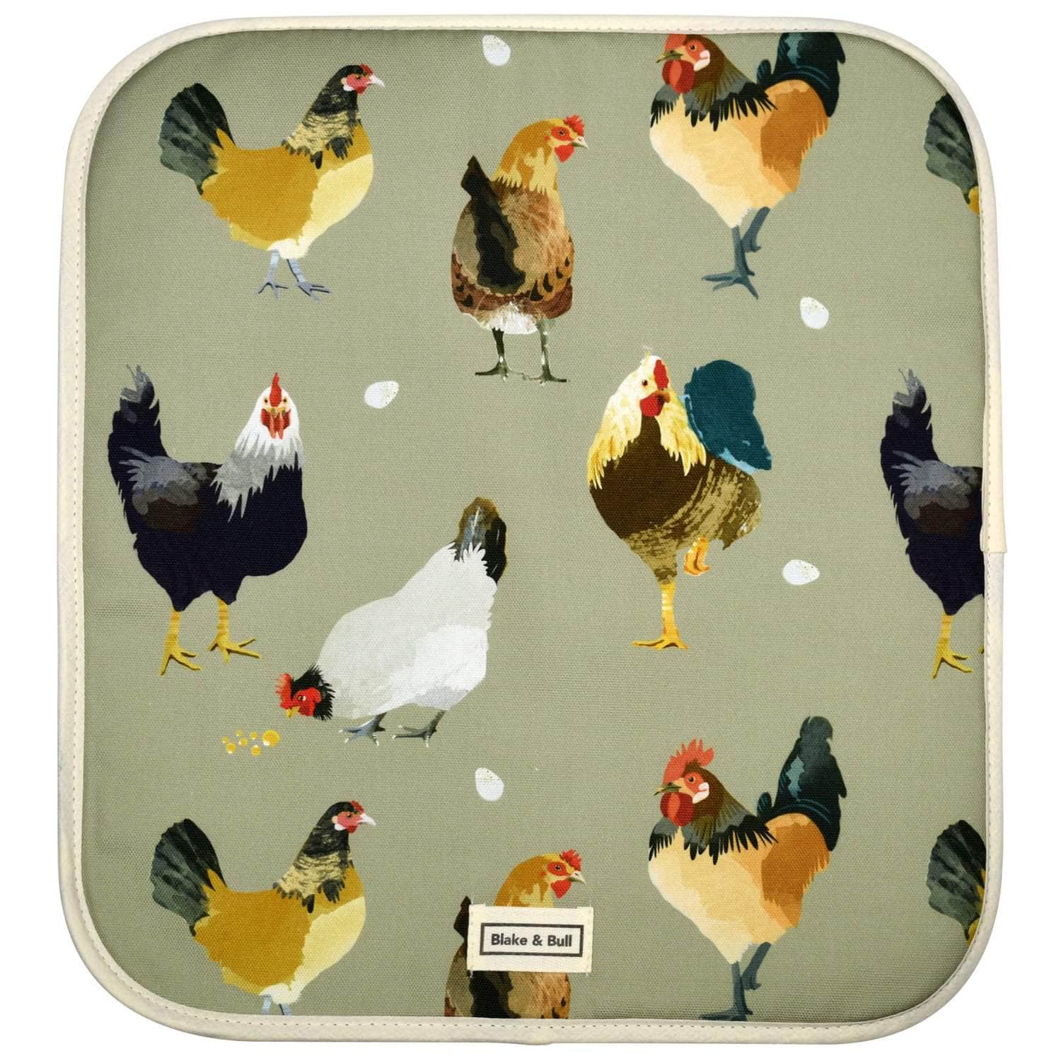 Warming plate cover for use with Aga range cookers - 'The Chickens'