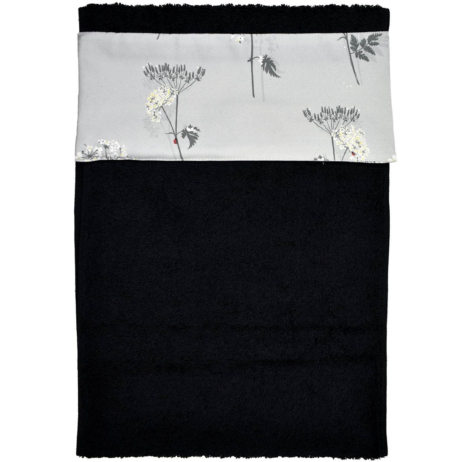 *New* Narrow (32 cm) hanging towel with velcro attachment - 'Cow Parsley'