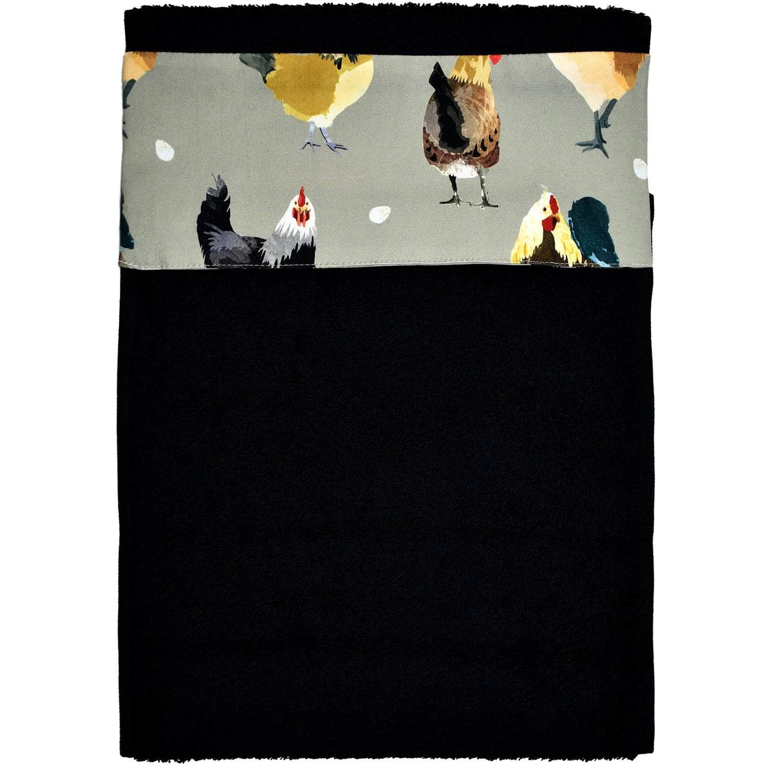 *New* Narrow (32 cm) hanging towel with velcro attachment - 'The Chickens'