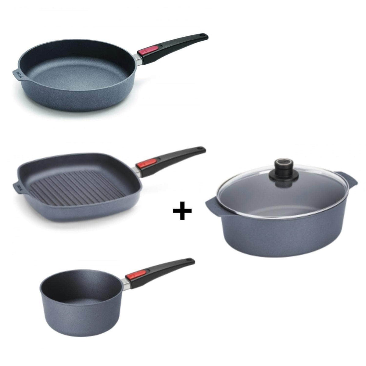Complete Cookware Sets - Save Up To £80 - The Full Monty! Saute, Griddle & 20cm Sauce Pan + Casserole/Roaster (all with lids) Set - Save £80