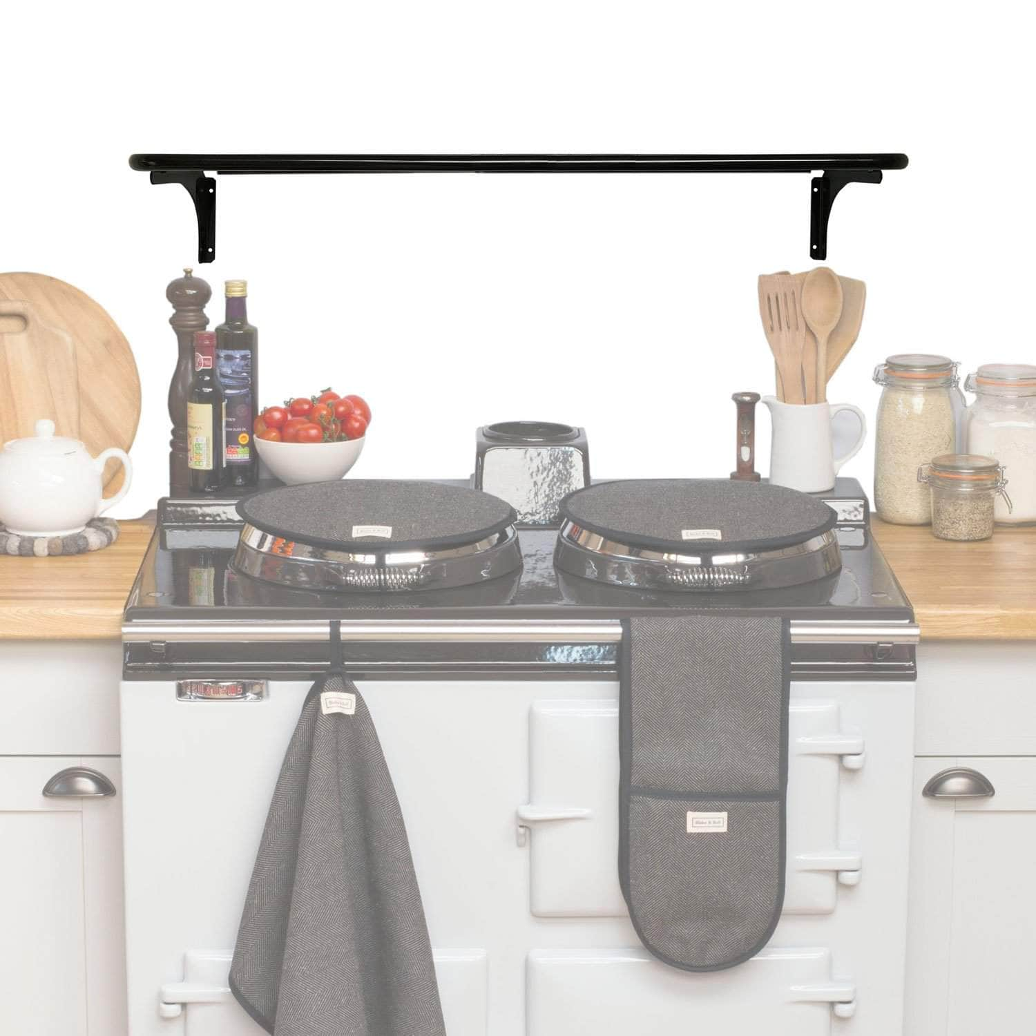 *Not quite perfect* Wall pot rack (no cut out) for use with balance flue Aga range cooker (gloss black) *Not quite perfect* Pot rack for use with Aga range cooker (balanced flue)
