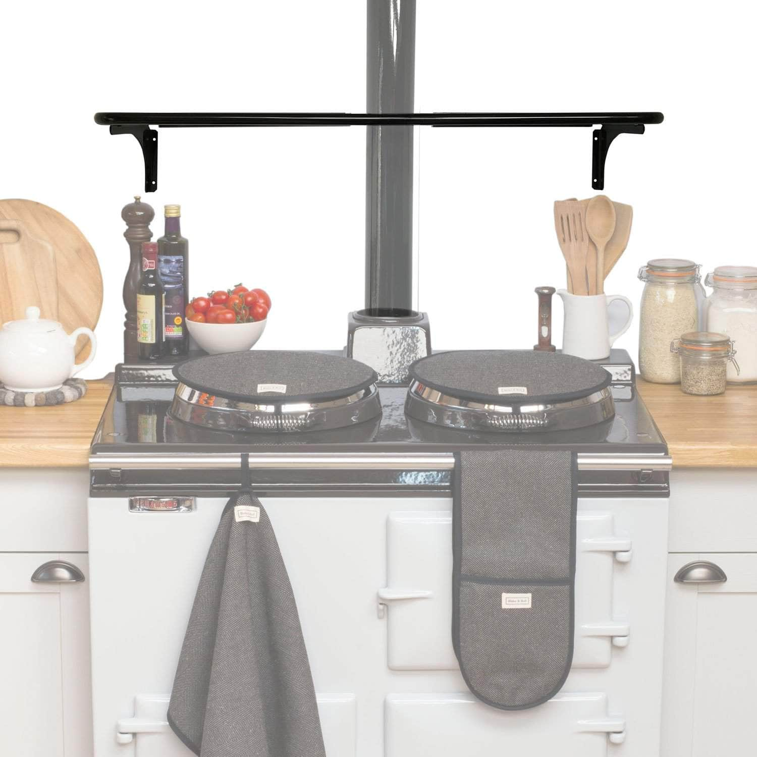 Wall pot rack with flue cut out for use with Aga range cooker (gloss black)