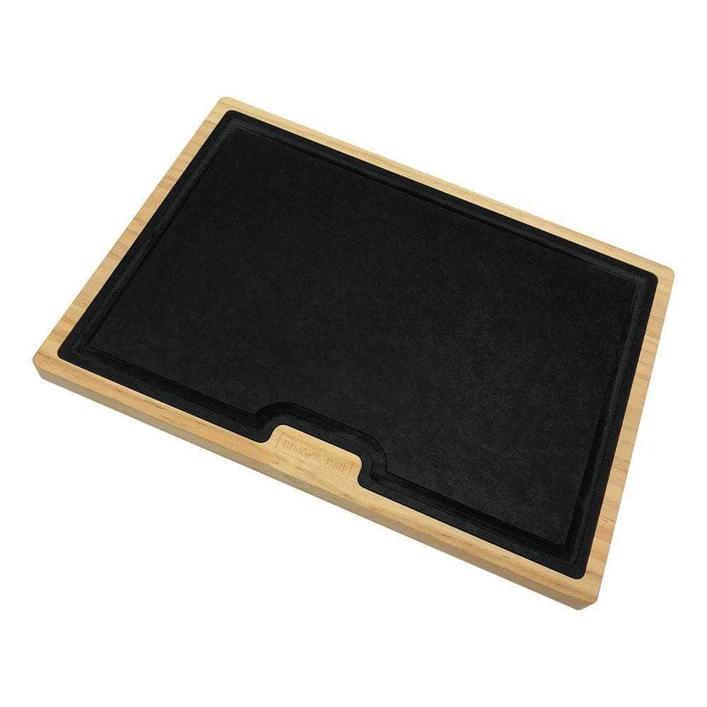 Wood serving board with dishwasher safe insert
