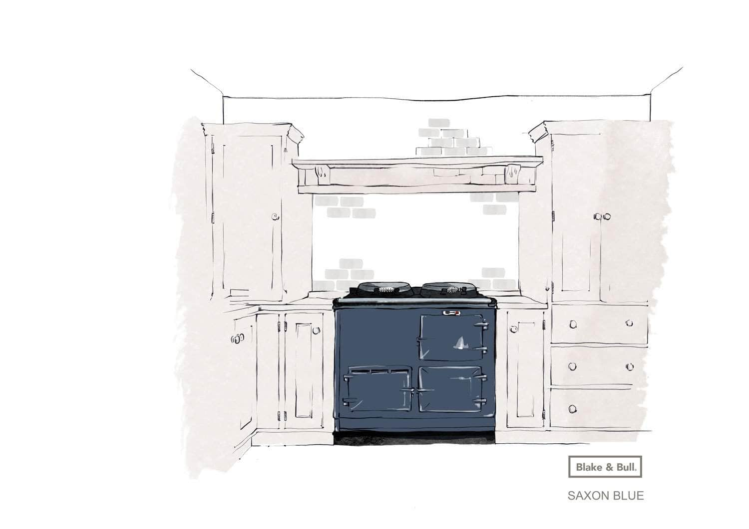 Reconditioned Aga range cooker 'Deluxe' (post-1974) 2 oven | 'eCook' by Blake & Bull | £7873 Saxon Blue / Pay in full and save £300. Use code 'SAVE300' at checkout