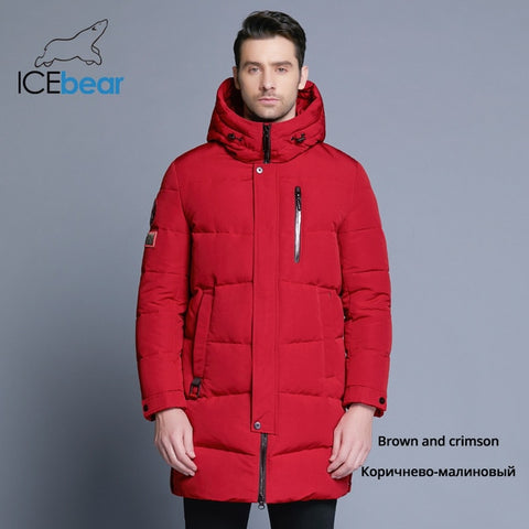 ICEbear 2019 Hot Sale Winter Warm Windproof Hood Men Jacket Warm Men Parkas High Quality Parka Fashion Casual Coat MWD18856D