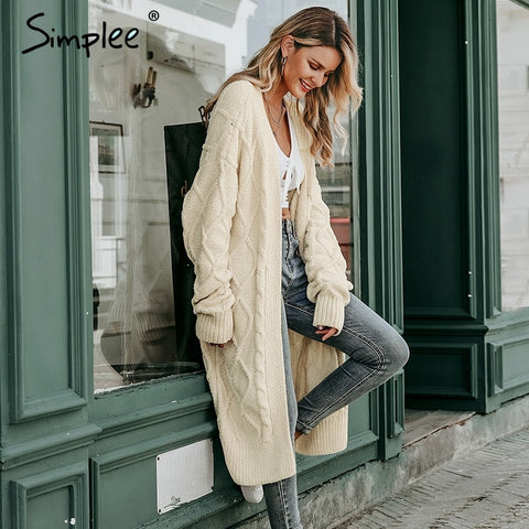 Simplee Solid long sweater cardigan women Long sleeve streetwear ladies outwear jumper coat Casual female winter sweater coat