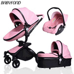 Free ship! Babyfond  3 in 1 baby stroller 360 degree rotate Carriage gold frame PU Pram EU safety Car Seat with Bassinet newborn
