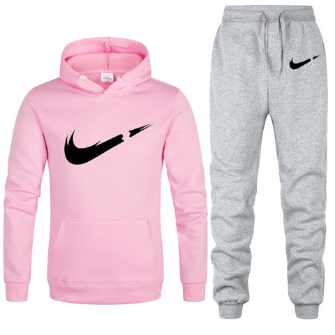 Free Shipping New 2019 Brand Tracksuit Fashion Hoodies Women Sportswear Two Piece Sets Fleece Thick hoody+Pants Sporting Suit