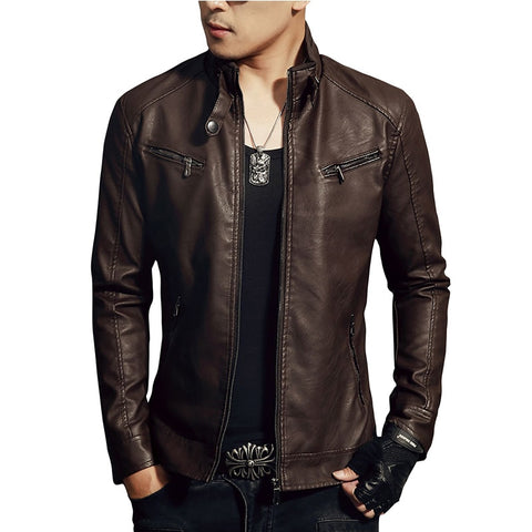 New Arrive Men's Synthetic Leather Jackets Solid Slim Stand Collar Zipper Fashion Coat Motorcycle Leather Jacket Mens Coats