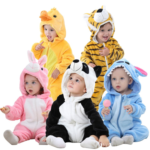 Winter Baby Rompers Panda Newborn Clothes Baby Girls Boys Romper Infant Clothing  Jumpsuit Toddler Baby's Sets Stitch Pajamas