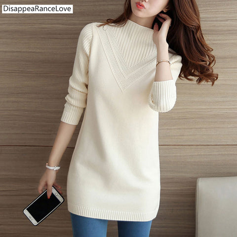 2019 DRL female sweater outerwear medium-long basic pullovers office lady sweater thickening solid color turtleneck Sweater