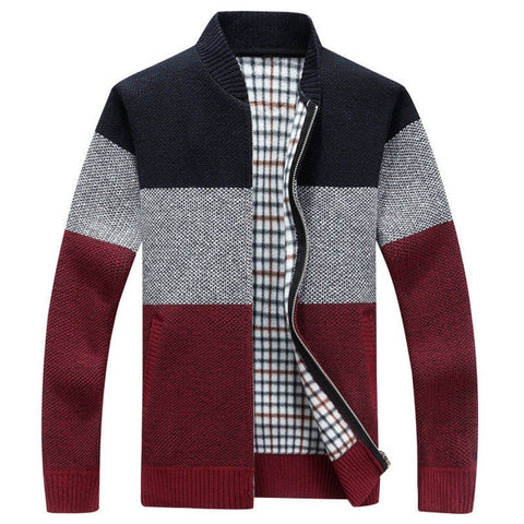 Mountainskin 2019 New Winter Men's Jackets Thick Cardigan Coats Mens Brand Clothing Autumn Gradient knitted Zipper Coat SA580