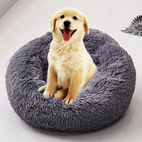 Foldable Round Cat Bed Portable Long Plush Dog Kennel Cat House Super Soft Cotton Mats Sofa For Dog Basket Pet Warm Sleeping Bed