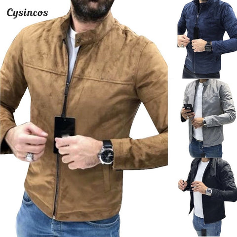 CYSINCOS NEW Brand Autumn Motorcycle Suede Jacket Men Men's Leather Jackets Jaqueta De Couro Masculina Mens Leather Coats