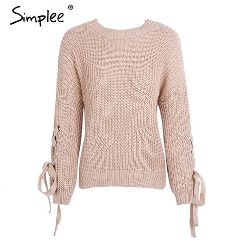 Simplee Casual o neck knitted sweater women jumper Lace up sleeve knitting pull femme 2019 autumn winter sweater pullover female