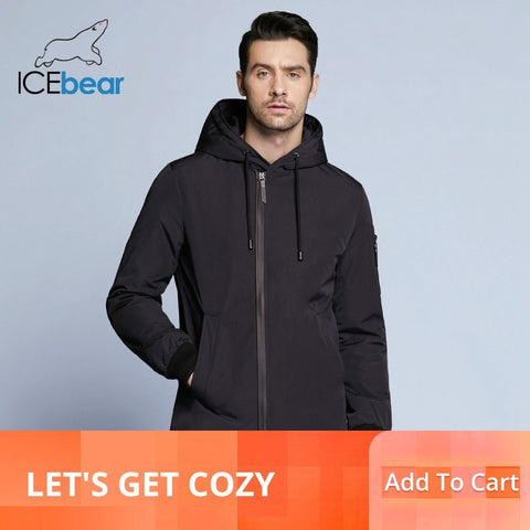 ICebear 2019 new autumn men's coat clothing fashion man jacket diagonal placket hooded design high quality clothing MWC18031D