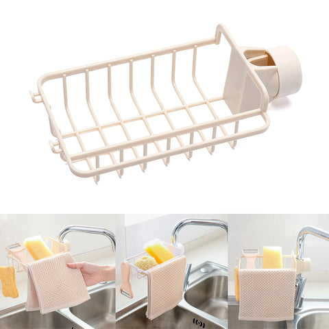 Drain Rack Holder Storage Organizer Drying Shelf for Kitchen Sink Faucet Sponge Soap Cloth TN99
