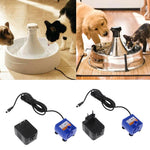 Silenced Fountain Pump Power Adapter Automatic Pet Cat Dog Water Drinking Fountain