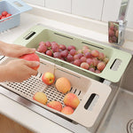Multifunctional Sink Draining Rack Retractable Storage Box Vegetables Basket Dish Drainer Organizer Holder Kitchen Strainer