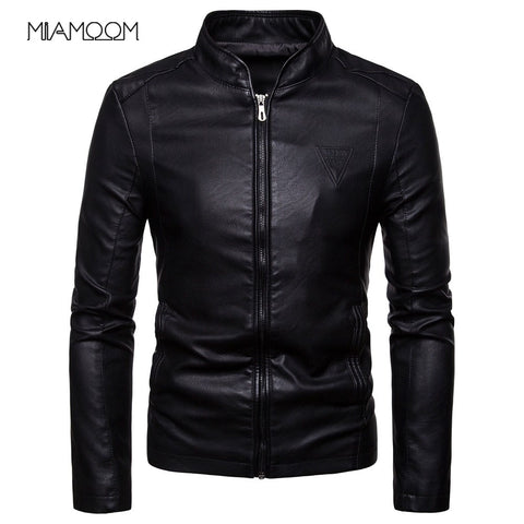 Men Leather Jackets Autumn New Men's Korean Style Slim Collar PU Leather Jacket
