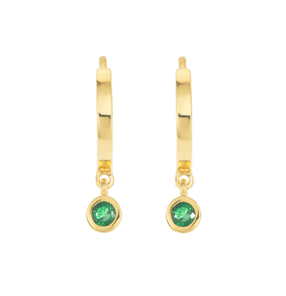 UNWRITTEN. GREEN TSAVORITE DANGLE DOME EARRINGS